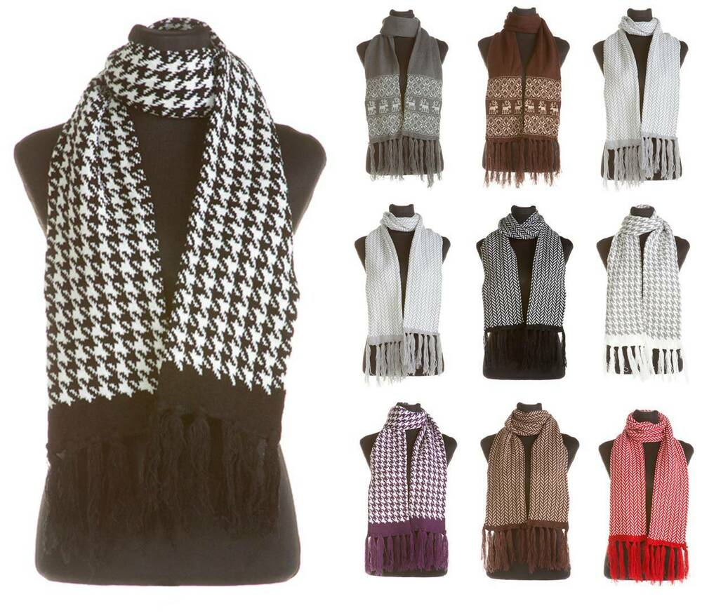 mens unisex quality winter knitted scarves dogtooth
