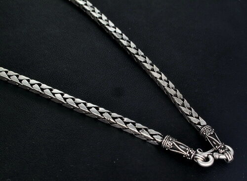 4mm Braid Square 925 Sterling Silver Bali Chain Necklace