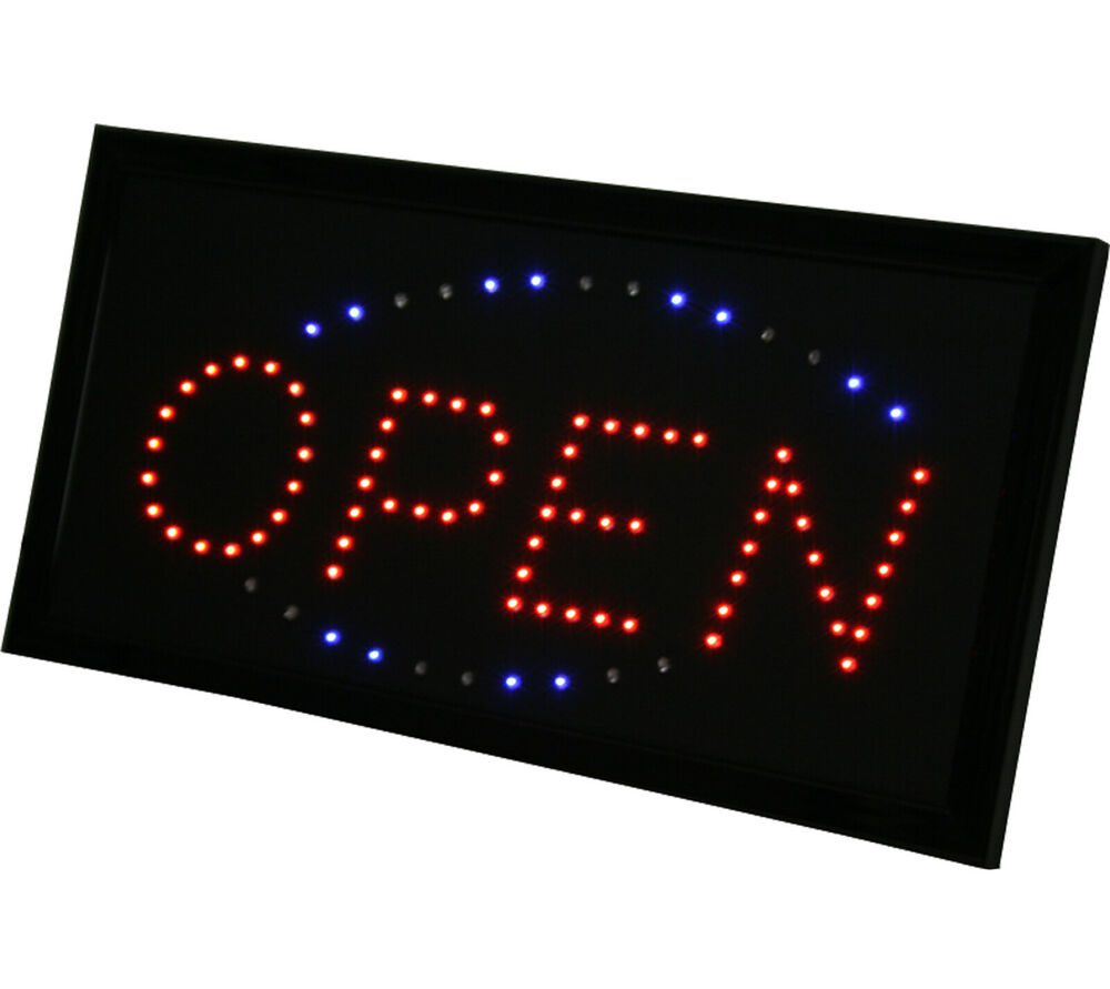 electric bright led open sign retail small business ink bed ebay. Black Bedroom Furniture Sets. Home Design Ideas