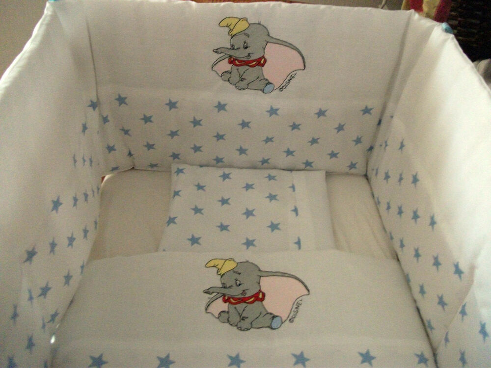 Beautiful Bespoke Crib Cot Cotbed Bumper Set With Dumbo