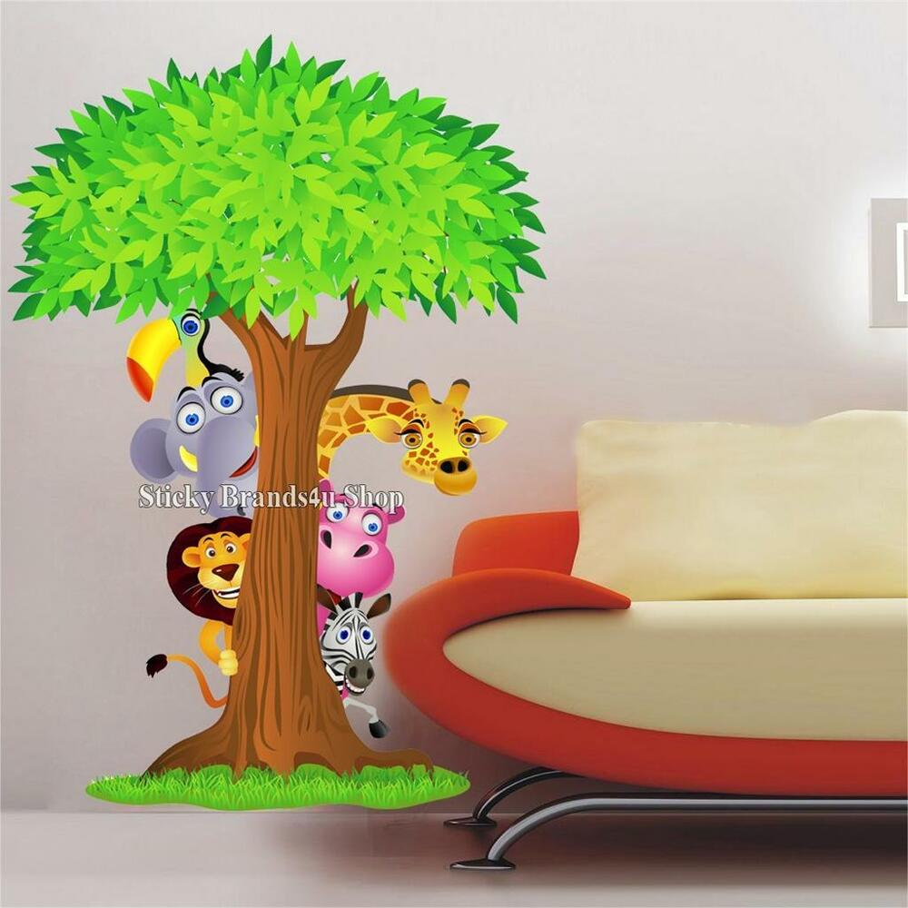 choose size safari animals behind a tree wall sticker cartoon decal home decor ebay. Black Bedroom Furniture Sets. Home Design Ideas