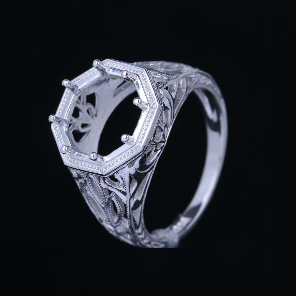 10mm round semi mount engagement ring setting silver for Wedding ring mounts