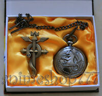 Fullmetal Alchemist Pocket Watch + Badge Cosplay 3 Set Free Shipping
