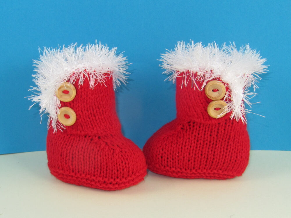 PRINTED INSTRUCTIONS-BABY CHRISTMAS SNUG BOOTS (BOOTIES)BOOTEES KNITTING PATT...