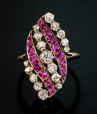 Antique Pink Sapphire And Diamond Swirl Ring Russian 1899