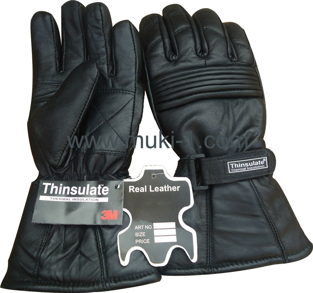 Mens leather gloves thinsulate - Men Winter Thinsulate Leather Gloves Black Xxs Xs S M L Xl Xxl Thermal Lining Ebay