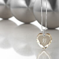 """Necklace 925 Silver with SWAROVSKI ELEMENTS Heart and letter engraving """" N """""""