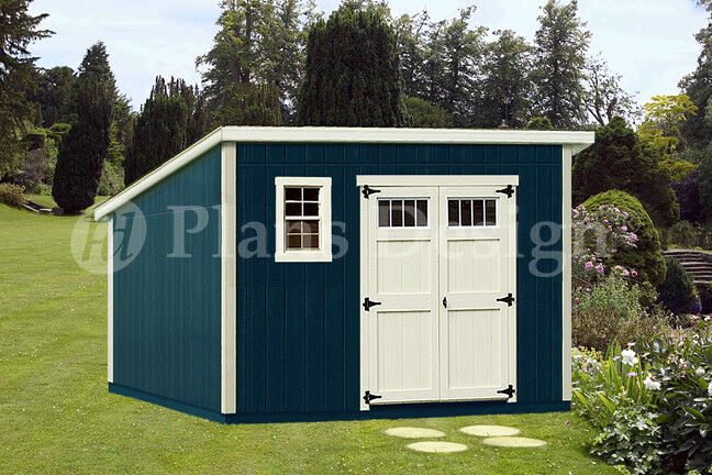 Shed plans 10 39 x 12 39 deluxe modern roof style d1012m for Garden shed 12x12