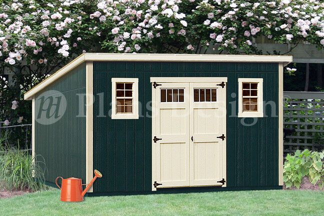 Shed plans 10 39 x 16 39 deluxe modern roof style d1016m for Material list for shed