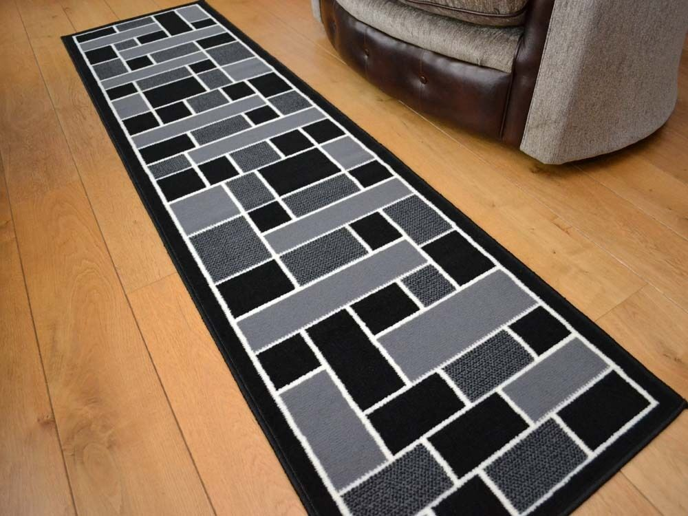 Very long narrow small black grey hall floor carpets for Runners carpets and rugs
