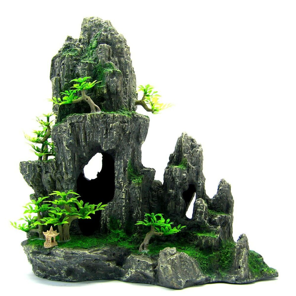 Mountain view aquarium ornament tree rock for Aquarium decoration ornaments