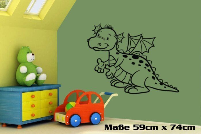 wandtattoo wandbild kinderzimmer drache 2 kinder 036 ebay. Black Bedroom Furniture Sets. Home Design Ideas