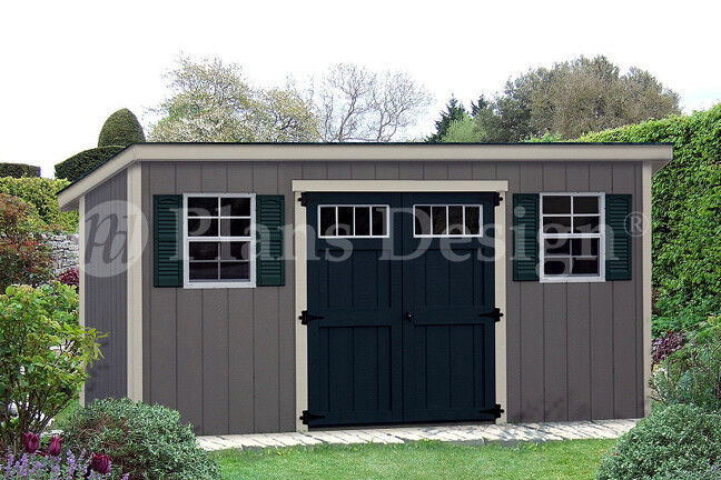 Storage shed plans 6 39 x 16 39 modern roof style d0616m for Shed plans and material list