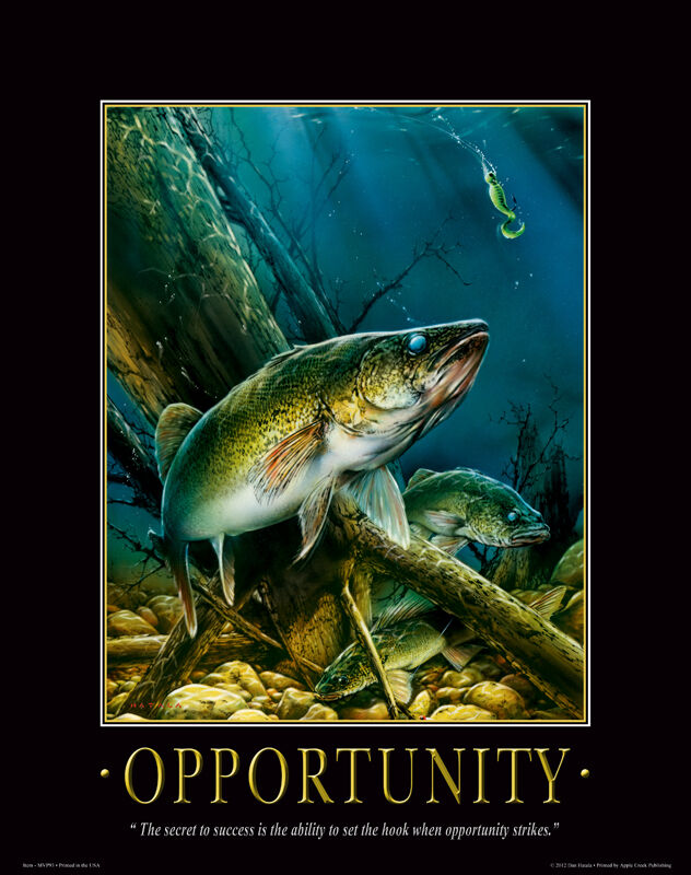 Walleye fishing motivational poster art vintage fishing for Walleye fishing jigs
