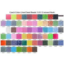 Czech 11/0 Color-Lined Seed Beads 12-strand Hank 1