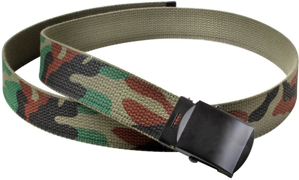 Kids Woodland Camouflage Reversible Cotton Military Web Belt - 34