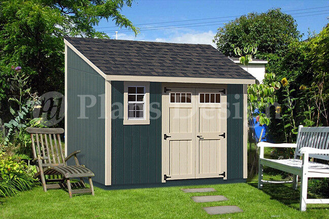 8' x 12' Backyard Deluxe Storage Shed Plans Blueprint, Lean-To Design #D0812L | eBay