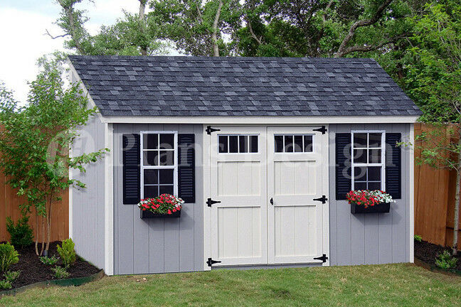 8 39 x 16 39 utility garden storage deluxe shed plans lean to for Barn style storage building plans