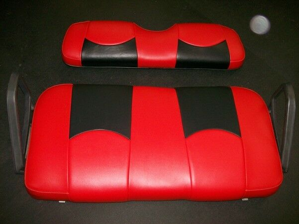 club car ds 39 00 up front seat replacement custom covers set red black btm ebay. Black Bedroom Furniture Sets. Home Design Ideas