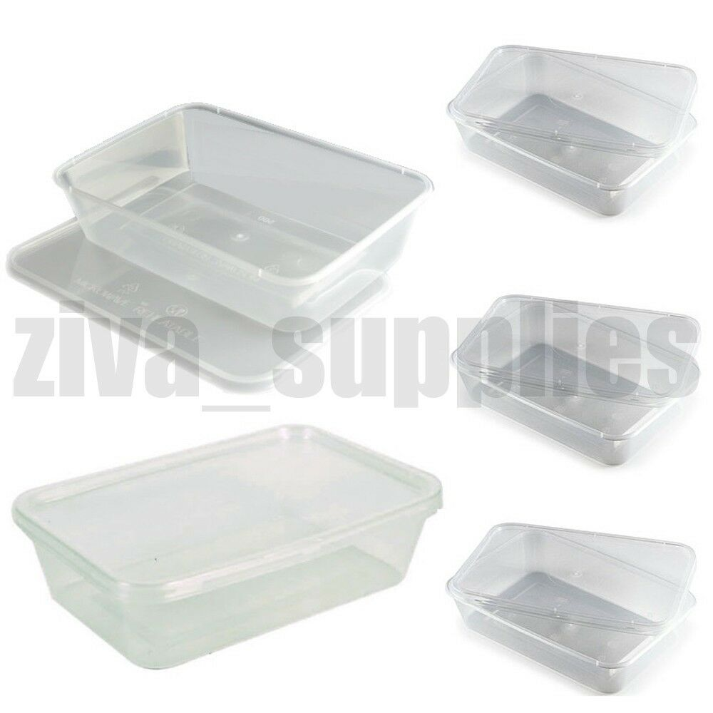 Food Containers Lids 500ml Microwave Freezer Safe Clear Plastic