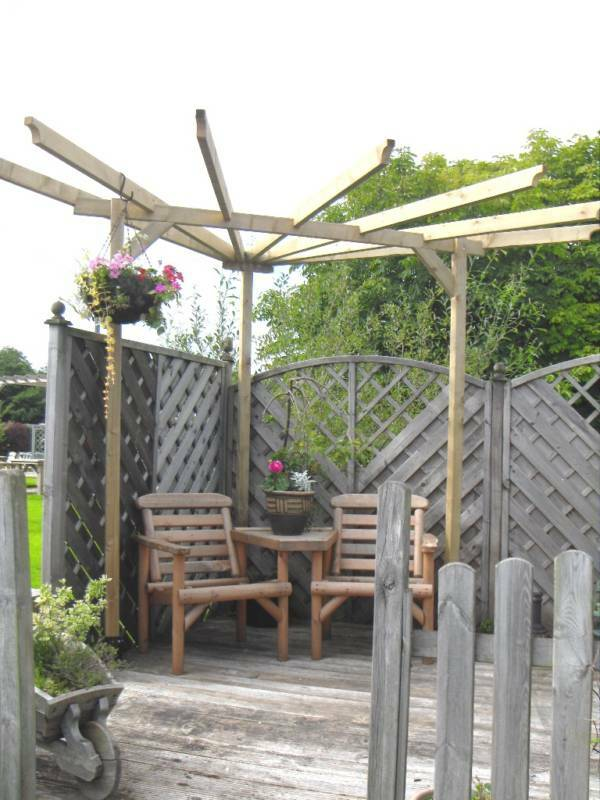 Beautiful Corner Pergola Pressure Treated Soft Wood Ebay