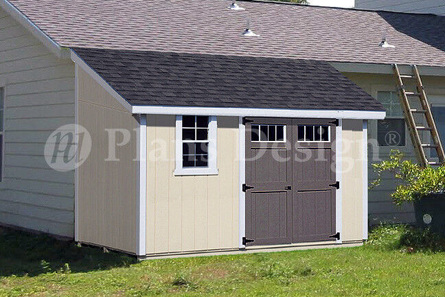 10 39 x 12 39 classic storage shed plans lean to d1012l for Material list for shed