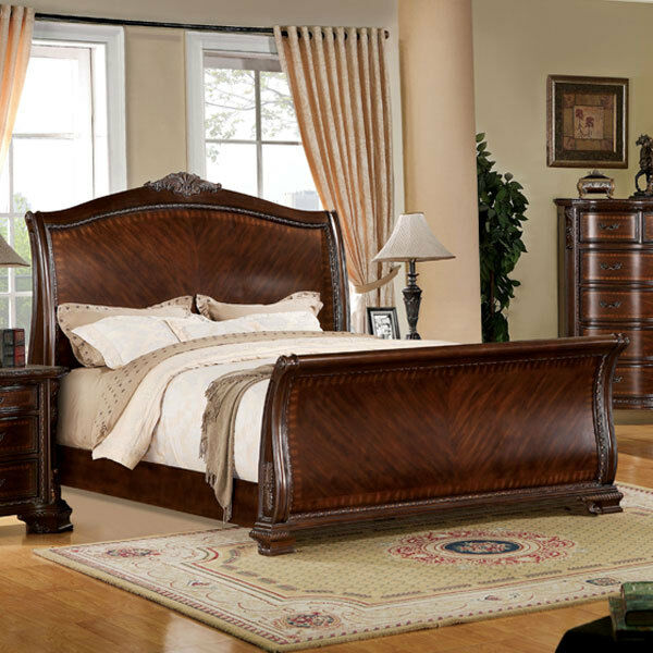 New Chateau Formal Traditional Rustic Cherry Finish Wood: Penbroke Antique Baroque Style Brown Cherry Finish Bed
