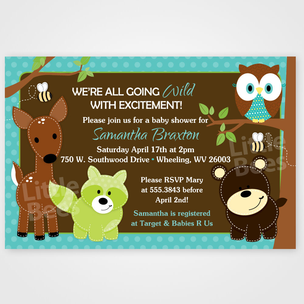 woodland forest animal friends printable baby shower or birthday
