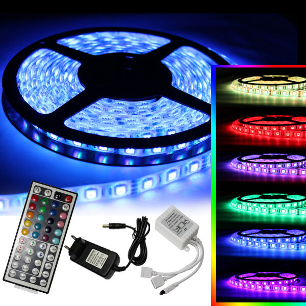 1m 10m led rgb smd5050 30 60 leds streifen strip band leiste controller trafo ebay. Black Bedroom Furniture Sets. Home Design Ideas