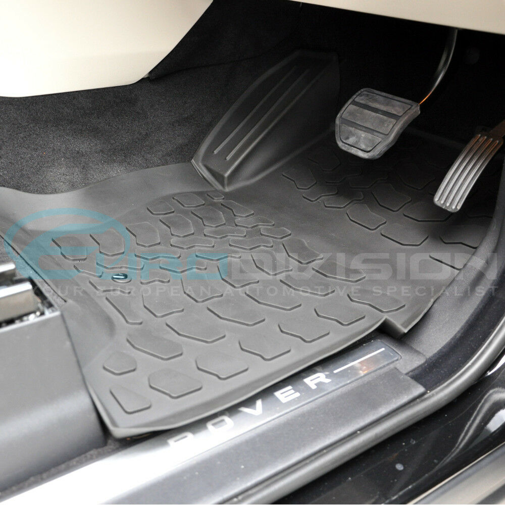 land rover range rover sport l320 05 13 black rubber car interior floor mats ebay. Black Bedroom Furniture Sets. Home Design Ideas