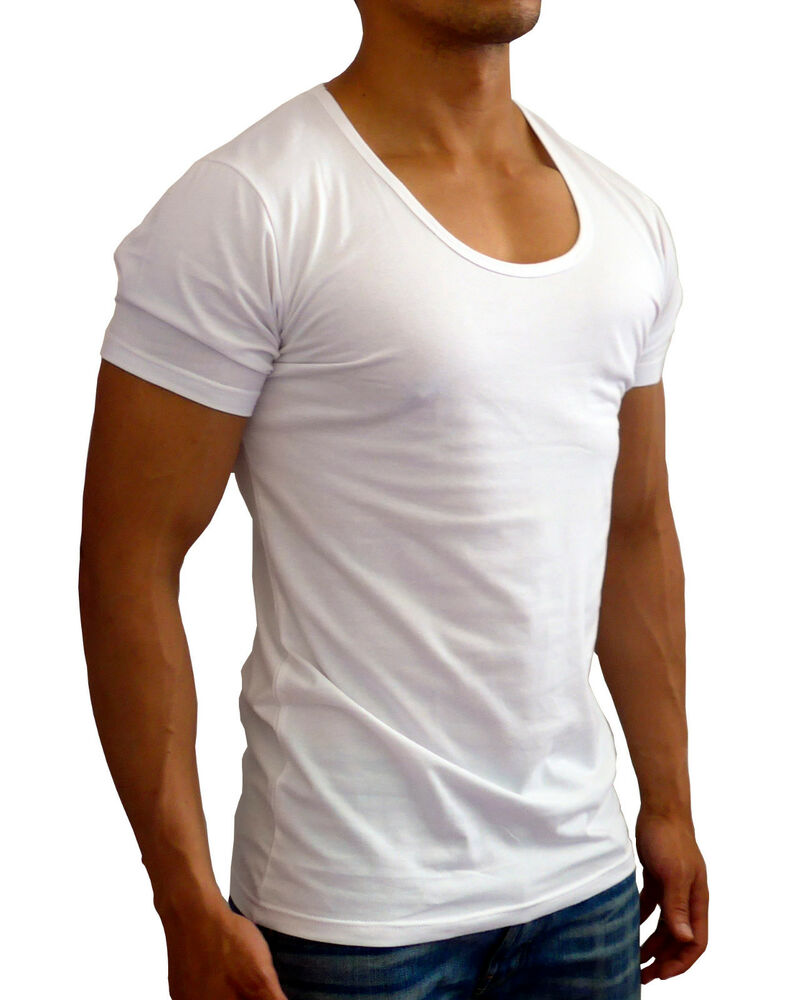 New mens plain white deep scoop neck t shirt s xxl slim Fitness shirts for men