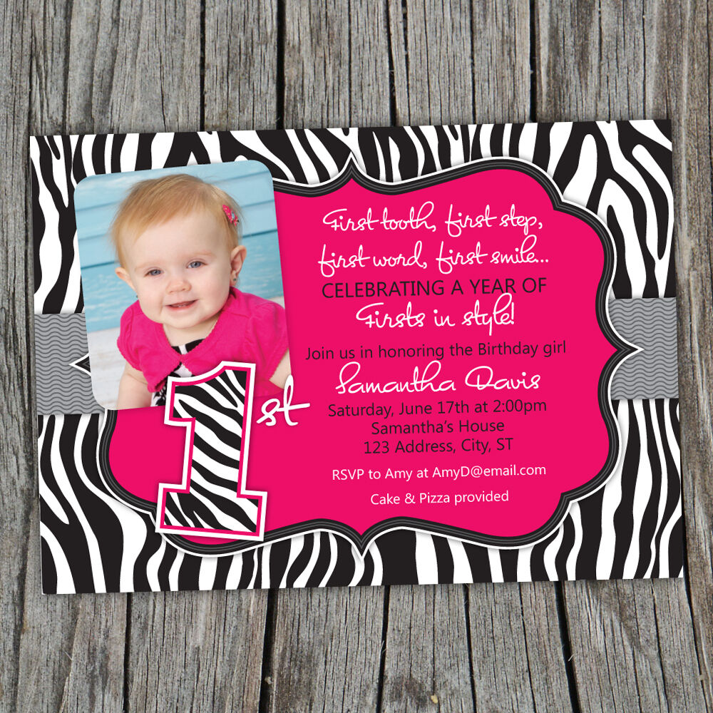 Printable Sassy Hot Pink Zebra Print 1st Birthday Photo