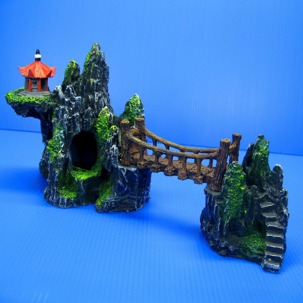 Mountain drawbridge s 10 7 aquarium ornament bridge for Aquarium cave decoration