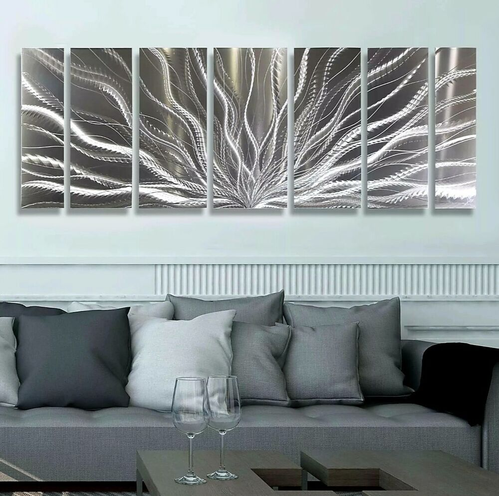 Modern Silver Abstract Metal Wall Art Sculpture Galactic ...