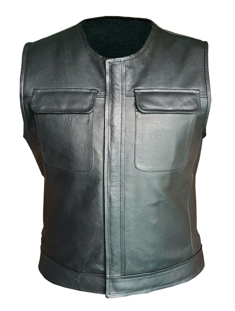 Mens Real Black Leather Waistcoat Bikers Vest With Flap