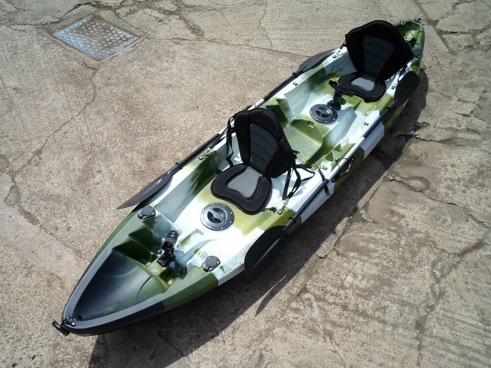 galaxy 2 1 tandem double sit on top fishing kayak canoe ebay