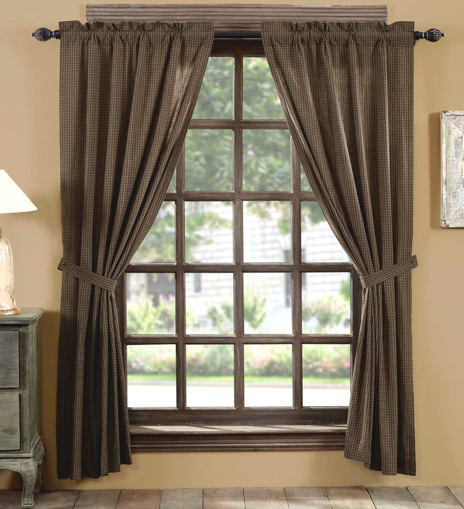 Kettle Grove Black Check Window Panel Set Homespun Tan