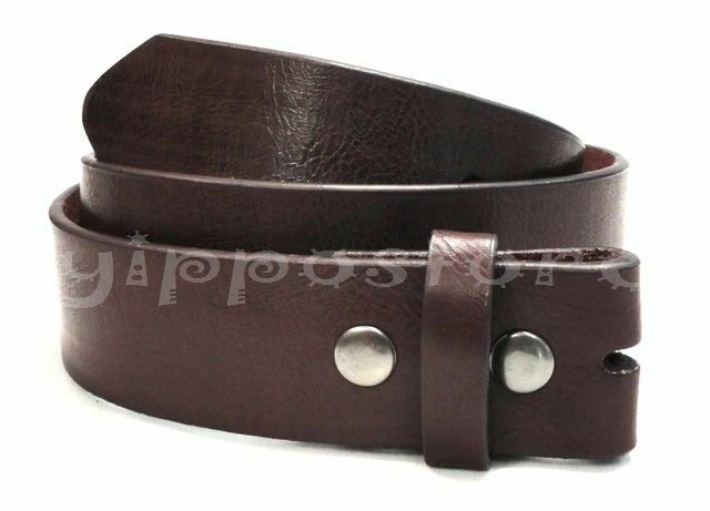 brown top grain leather snap on belt for belt