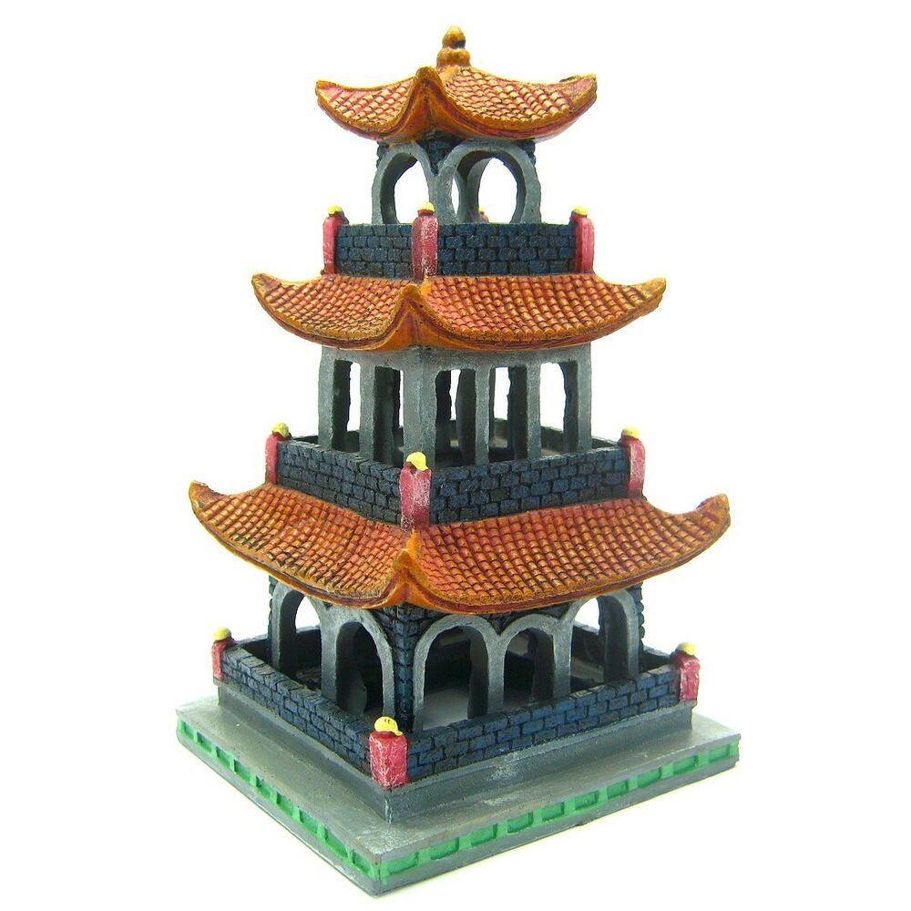 Asian tower aquarium ornament decoration h8 6 fish tank for Japanese fish decoration