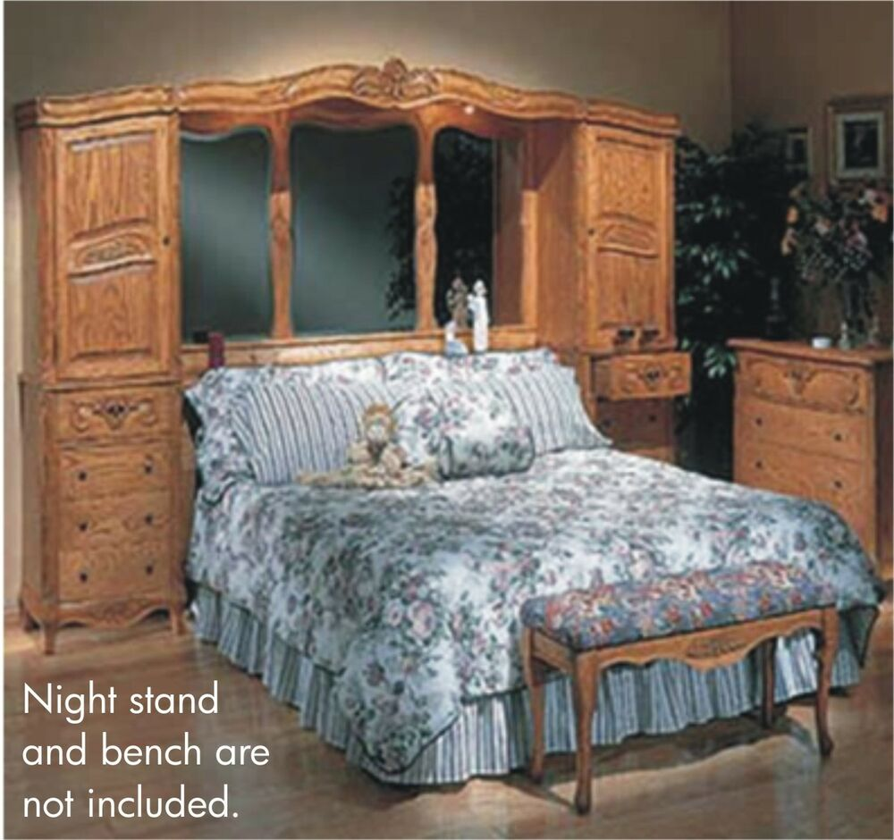 Oak Bedroom Set. Rossi 5pc Italian Traditional Solid Oak