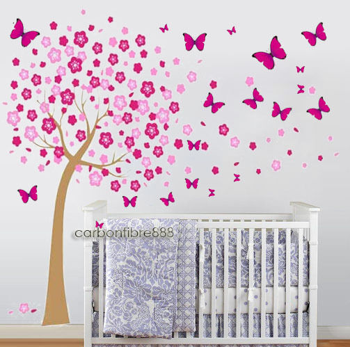 Huge Pink Butterflies Cherry Blossom Flowers Tree Wall