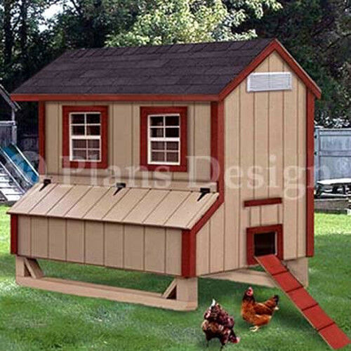 5 39 X6 39 Gable Poultry Chicken House Coop Plans 90506g Ebay