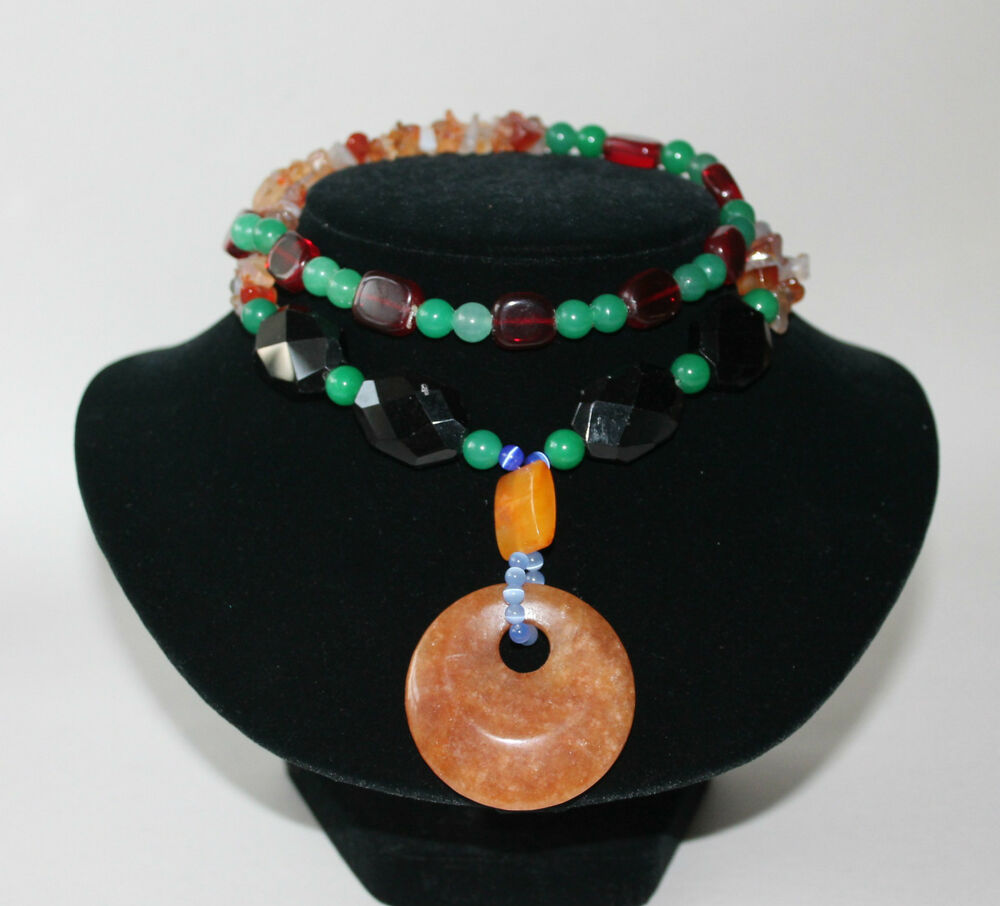 Brown green jade black onyx orange agate blue ruby red for Red black and green jewelry