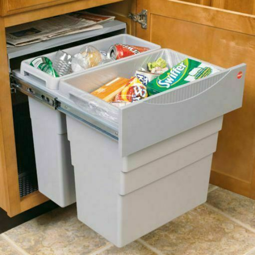 Easy cargo kitchen waste bin pull out 49l 500mm cabinet for Kitchen cabinets 500mm