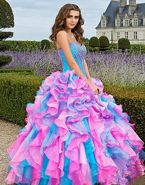 New Multi Color Prom Dress Ball Gown Quinceanera Dresses