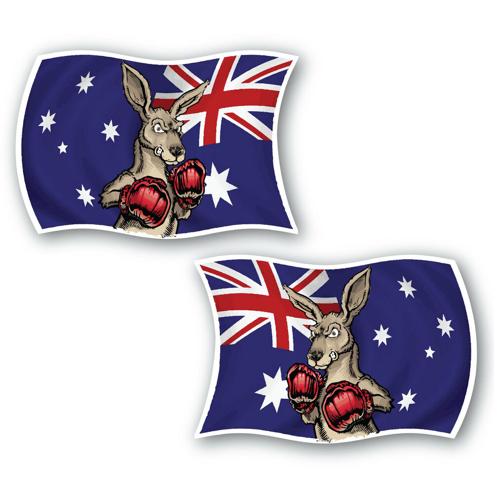 Aussie Flag Boxing Kangaroo Sticker 2 Pack 100mm Water
