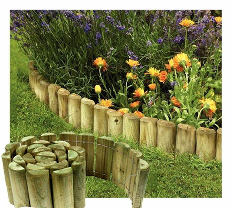 6'' X 1.8M Wooden Garden Border Rolls Lawn Edging