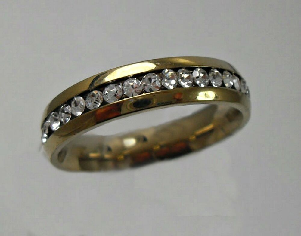 5MM GOLD STAINLESS STEEL Eternity CZ Mens Amp Womens Wedding Band Ring