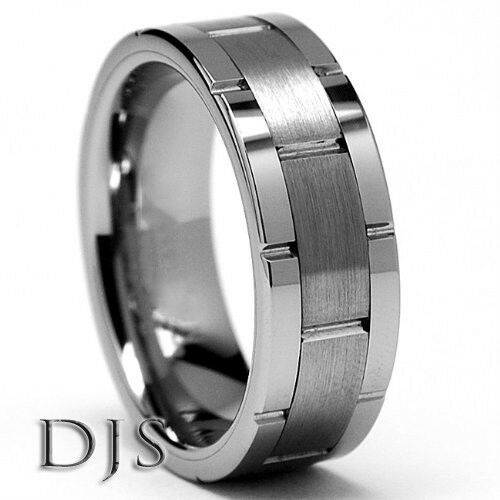 mens tungsten carbide grooved ring wedding band size 75 to 145 ebay - Tungsten Mens Wedding Ring