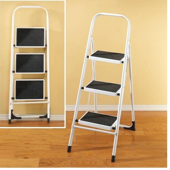 3 Tier Folding Step Ladder Xl Folds For Easy Storage Non